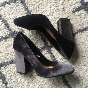 Gray Velvet Pumps